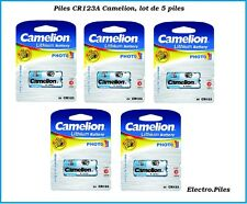 Lot de 5 piles/cells spéciales photos CR123A lithium Camélion