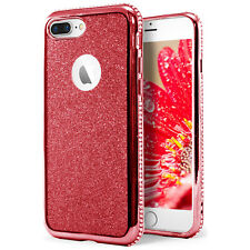 Strass Glitzer Case für iPhone 8 Plus Soft TPU Handyhülle Cover Schale Bling Rot