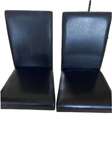 Pair Of Btown Fsux Leather High Back Dining Chsirs. Slightly Used