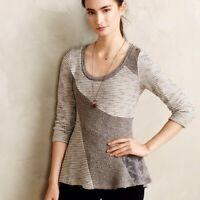 Angel of the North Anthropologie Leta Taupe Lace Tweed Knit Sweater Size XS