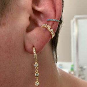 Single Sterling Silver Tiny Huggie Hoop Huggies Earrings CZ chain dainty small