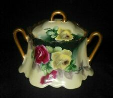 Z S CO BAVARIA HAND PAINTED SCROLLED SUGAR BOWL YELLOW MAUVE ROSES GOLD RIM 1880