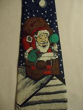 "A Rogers Christmas Tie 59"" Santa Claus Chimney Moon Snowflakes"