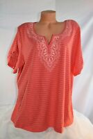 NORTHCREST (2X/3X) T-Shirt CORAL Split V-Neck Embroidered Cotton Polyester Knit