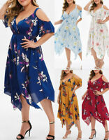 Women Summer Sexy Plus Size Short Sleeve Open Shoulder Floral Print V-Neck Dress