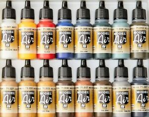 Vallejo Model Air Color Acrylic Paints - 17ml Bottles - Full Range Available