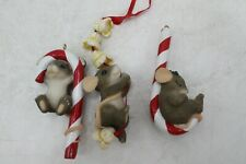 3 Charming Tails Fitz & Floyd Christmas Ornaments Candy Cane Mice No Box