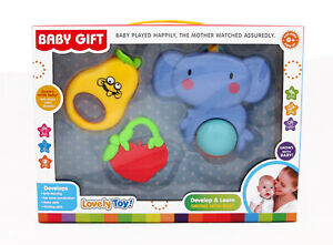 Baby Set Toy 3pcs Teether Rattle Various shapes Shake, Gift box Newborn Infant