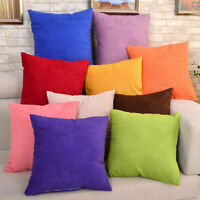 "Solid Suede Nap Cushion Cover Home Decor Bed Sofa Throw Pillow Case 18""x18"" Du"