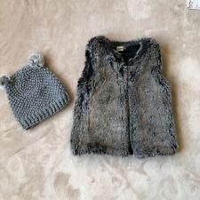 Beautiful Ikks Girls Faux Fur Vest + Surell Hat - Size 6 - Excellent Condition