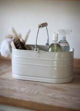 Pays chic émail métal seau ovale de solutions de stockage peint en crème craie