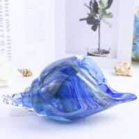Hand Blown Glass Seashell Art Style Ocean Conch Sculpture Multi-color Decor Gift