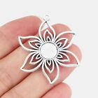 10Pcs Antique Silver Lotus Flower Charms Necklace Pendant Blank Bezel 10mm Cameo