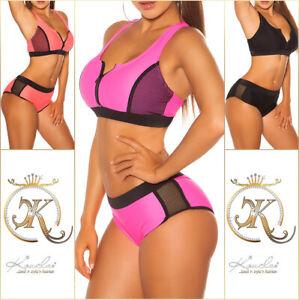 Bikini Beachwear Bademode Badeanzug mit Netz und Zip