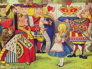 Queen of Hearts Alice in Wonderland 9 x 12 inch mono deluxe Needlepoint Canvas
