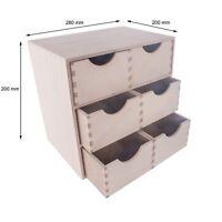 Small Wooden Storage Box Unit Office Desktop Organiser / 6 Drawers / 28x20x28cm