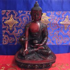 MEDICINE BUDDHA Tibetan Buddhist Statue from Nepal Resin 8 Inch LIMITED EDITION!