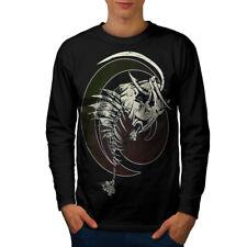 Wellcoda Fish Bone Skeleton Mens Long Sleeve T-shirt, Tattoo Graphic Design