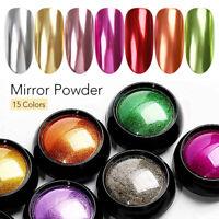 Espejo De Polvo Uñas Oro Rosa Cromo Efecto pigmento Nail Art Polvo  DIY