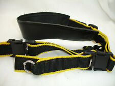 Quick release camera neck strap, middle leather , Vintage , Black / Yellow,  GUC