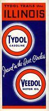 1937 Tydol Veedol Road Map: Illinois NOS