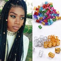 50X 8mm Dreadlock Beads Adjustable Hair Braid Rings Cuff Clips Tubes Jewelry