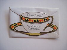 Vintage Art Deco Bridge Invitation Card w/ Envelope Shaped Like a Tea Cup  *