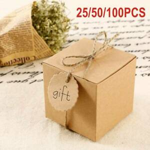 50Pc Eco Kraft Small Natural Gift Boxes Wedding Favour Chocolate Box | FREE Tags