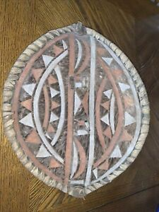 Vintage African Maasai Warrior Tribal Shield Buffalo Hide & Hair Tribe Paint