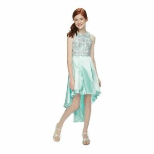Speechless Girl's Mint Green Lace To Pleated High Low Dress Sz. 18 PLUS NWT