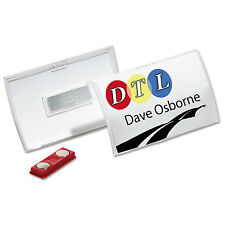 Durable Click-Fold Convex Name Badge Holder Double Magnets 3 3/4 x 2 1/4 Clear