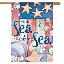"By the Sea Welcome House Flag Beach Summer Bucket Shell Sand Nautical 28""x40"""