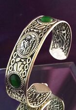 Religious Cuff Bracelet Depicting a Bishop Faith Inspired Jewelry Green Stone12Q