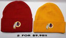 READ LISTING!Washington Redskins HEAT SET Flat Logos on 2 Beanie Knit Cap hat!