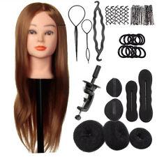 24'' Human Hair Training Practice Head Mannequin Hairdressing + Braid Tool Kit