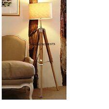 Classic Vintage Teak Wood Tripod Floor Lamp Nautical Floor