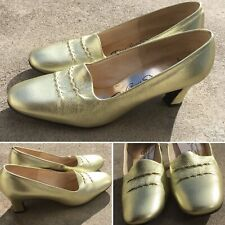 Vintage Red Cross Shoes Gold Leather Upper 6 1/2 A/Aaa