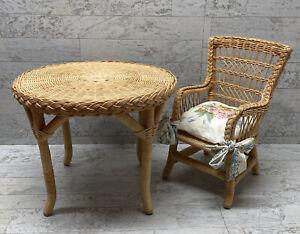 American Girl Pleasant Company Samantha Wicker Table Chair And Cushion 1989