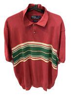 Polo Ralph Lauren Vintage Men's Size XXL Red/Green Striped Knit Polo Shirt euc