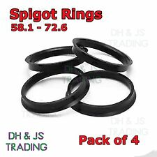 4x Spigot Rings 58.1 - 72.6 Wheel Hub Center Ring Fiat Punto Alfa Romeo Lancia