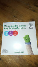 Three Nano Micro Standard SIM Card Pay As You Go 3 Trio Combi Multi UK 3G 4G