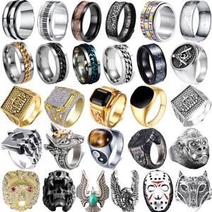 Men Women Stainless Steel Alloy Gothic Skull Rings Boy Biker Finger Jewelry Lot