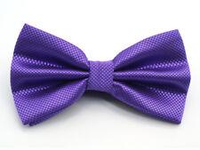 New Mens Solid Color Adjustable Tie Bow tie Polyester Purple Necktie For Wedding