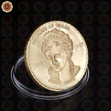 WR Princess of Wales Lady Diana Gold Coin Commemorative Collectors Gift Rose 24K