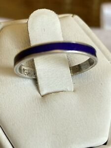 Vintage Sterling Silver And Blue Enamel Band Ring Size O
