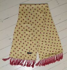 SCARF 90s does 50s Vintage Neck Long Fringe Yellow Red Horsehead Tootal Unisex