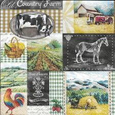 Lot de 2 Serviettes papier Ferme Coq Cheval Vache Decoupage Collage Decopatch