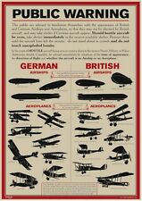 NEW WWI AIRCRAFT AIRSHIPS IDENTIFICATION PUBLIC WARNING REPRODUCTION A3 POSTER