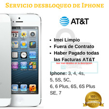 Servicio Liberacion Iphone AT T AT&T 3 4 4s 5c 5s 6 6s 6plus SE Unlock Service