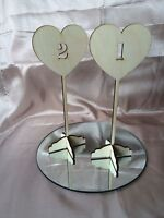Freestanding wooden heart shaped table numbers, wedding, party